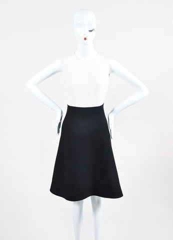 Black and White Valentino Colorblock Sleeveless Dress Front