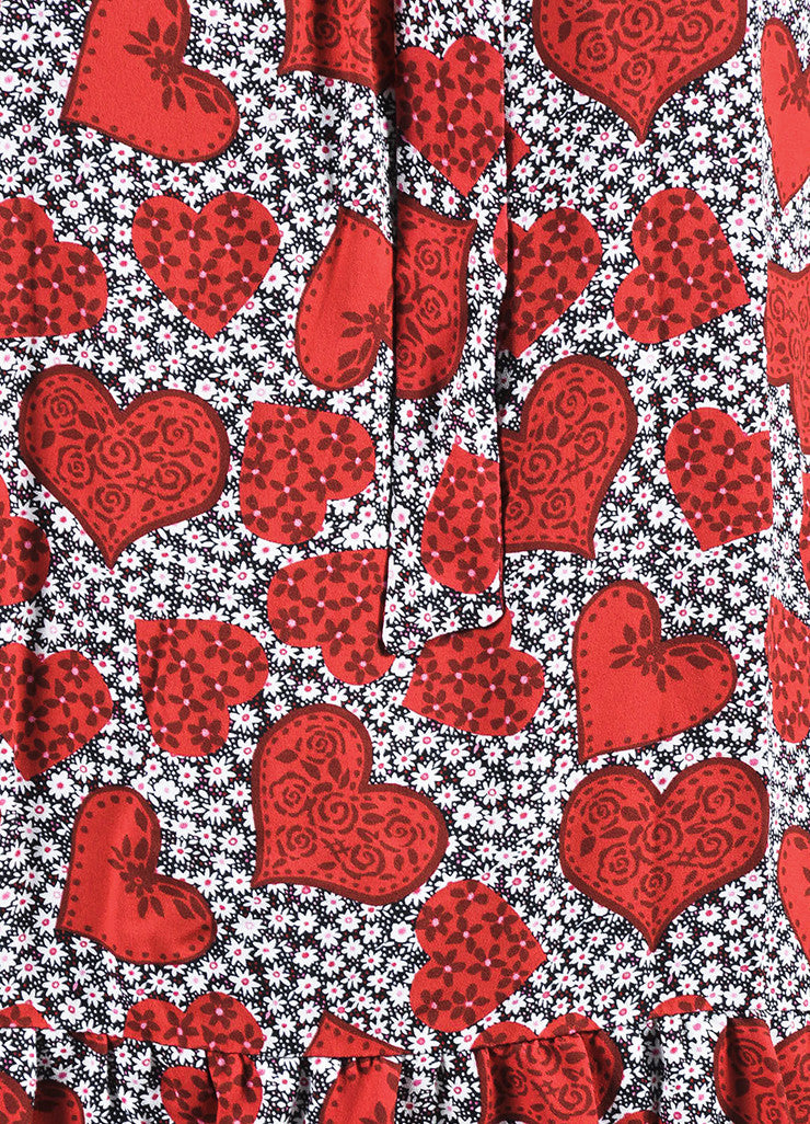 Red 	Valentino Silk Floral Heart Print Tie Long Sleeve Dress Detail