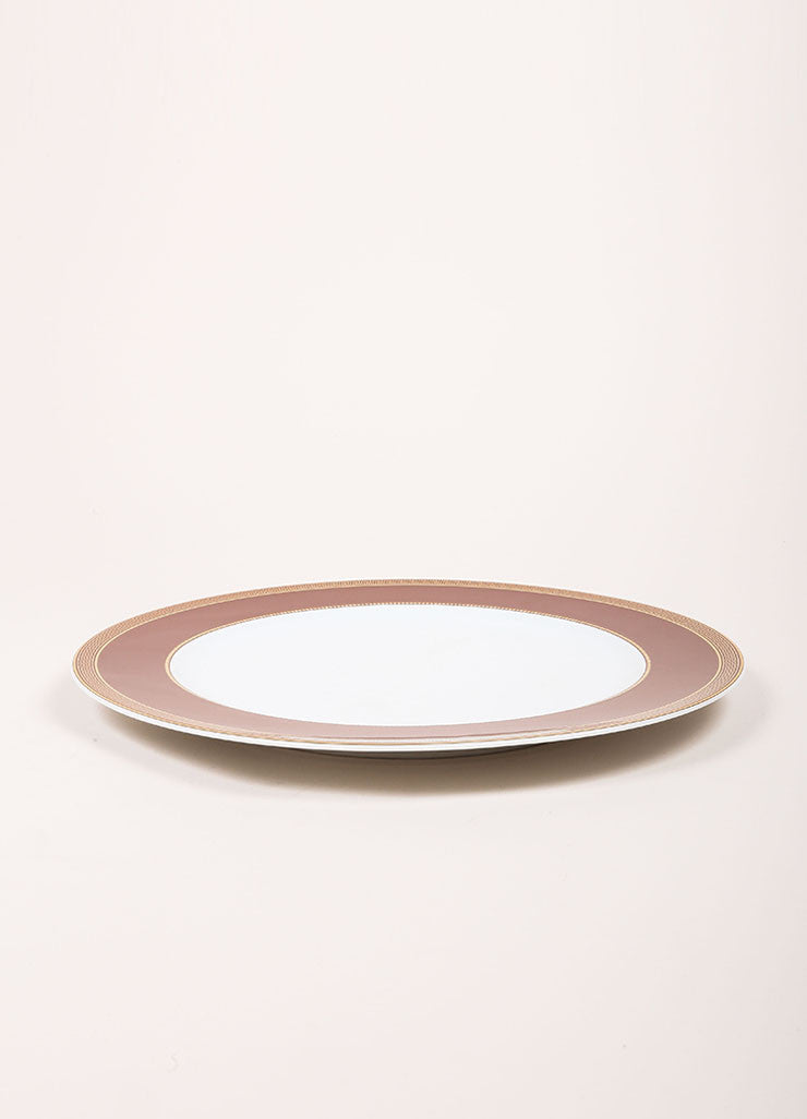 "Versace Rosenthal Brown ""Medaillon Meandre Marron"" 12 inch Service Plate Sideview"