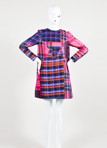 Multicolor Plaid VICTORIA Victoria Beckham Shift Dress Front