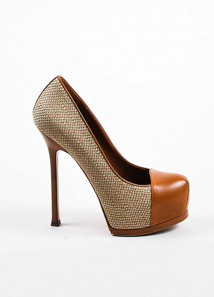 "Yves Saint Laurent ""Natural"" Tan Leather and Linen ""Tribtoo"" High Heel Pumps Sideview"