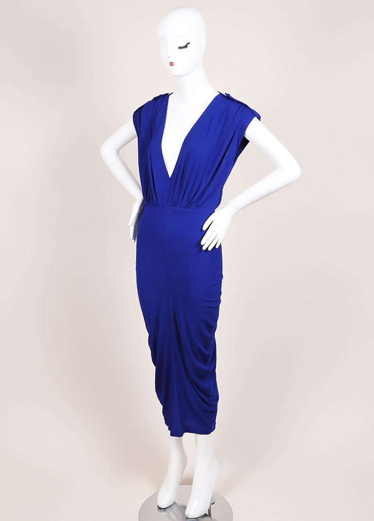 Alexander McQueen Royal Blue Ruched Sleeveless Dress Sideview