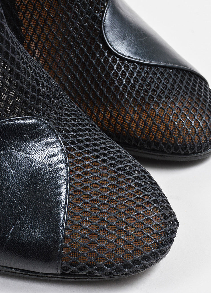 3.1 Phillip Lim Black Mesh Leather Cone Heel Ankle Boots Detail