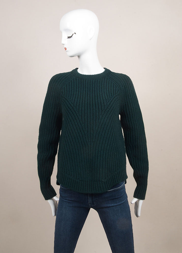 Alexander McQueen New With Tags Forest Green Wool and Cashmere Chunky Knit Sweater  Frontview