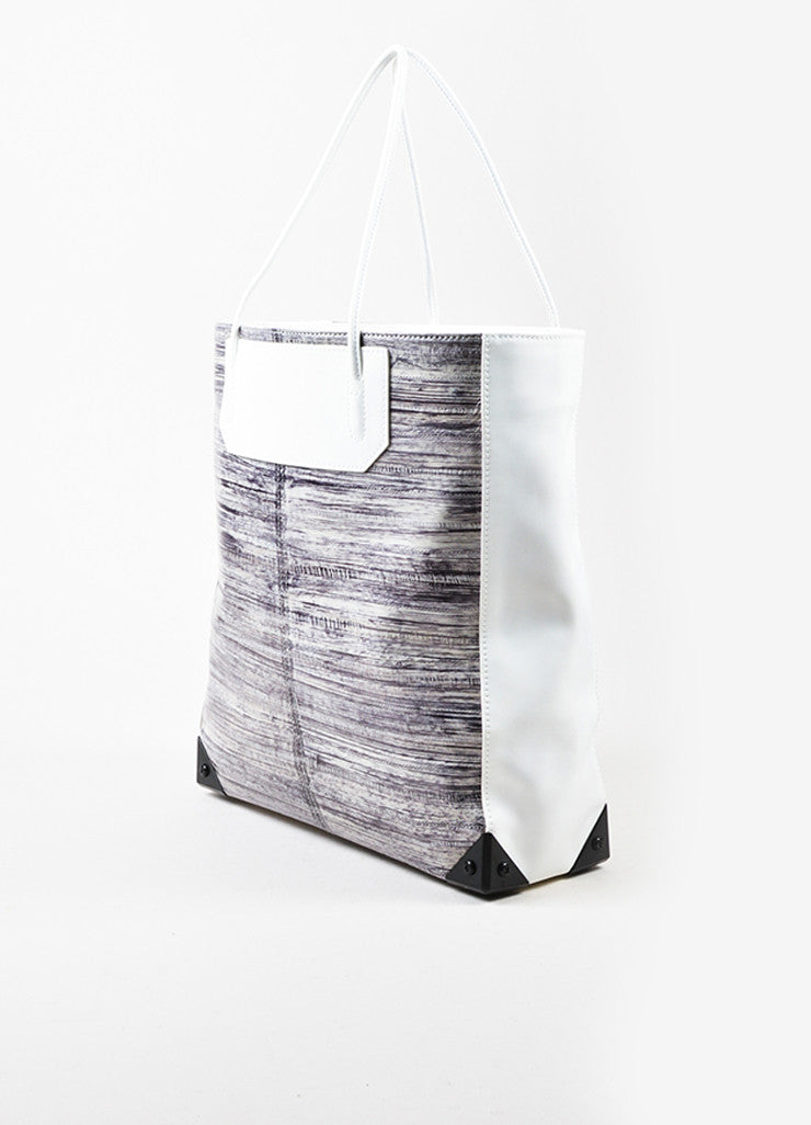 "Alexander Wang White and Grey Painted Eel Leather ""Prisma"" Tote Bag Sideview"