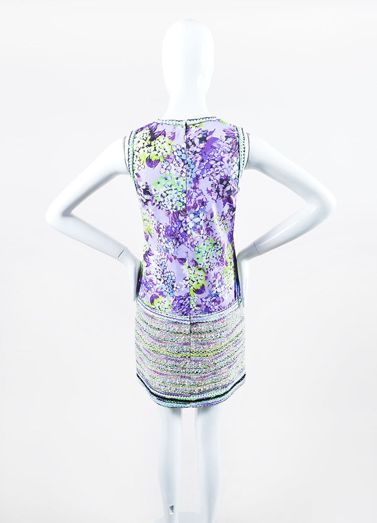 """Lilac"" Purple and Lime Green Andrew Gn Floral Print and Woven Dress Backview"