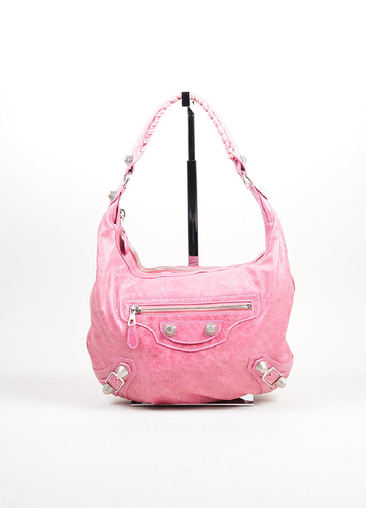 "Pink Balenciaga Leather ""Motocross Giant 21"" Hobo Bag Frontview"