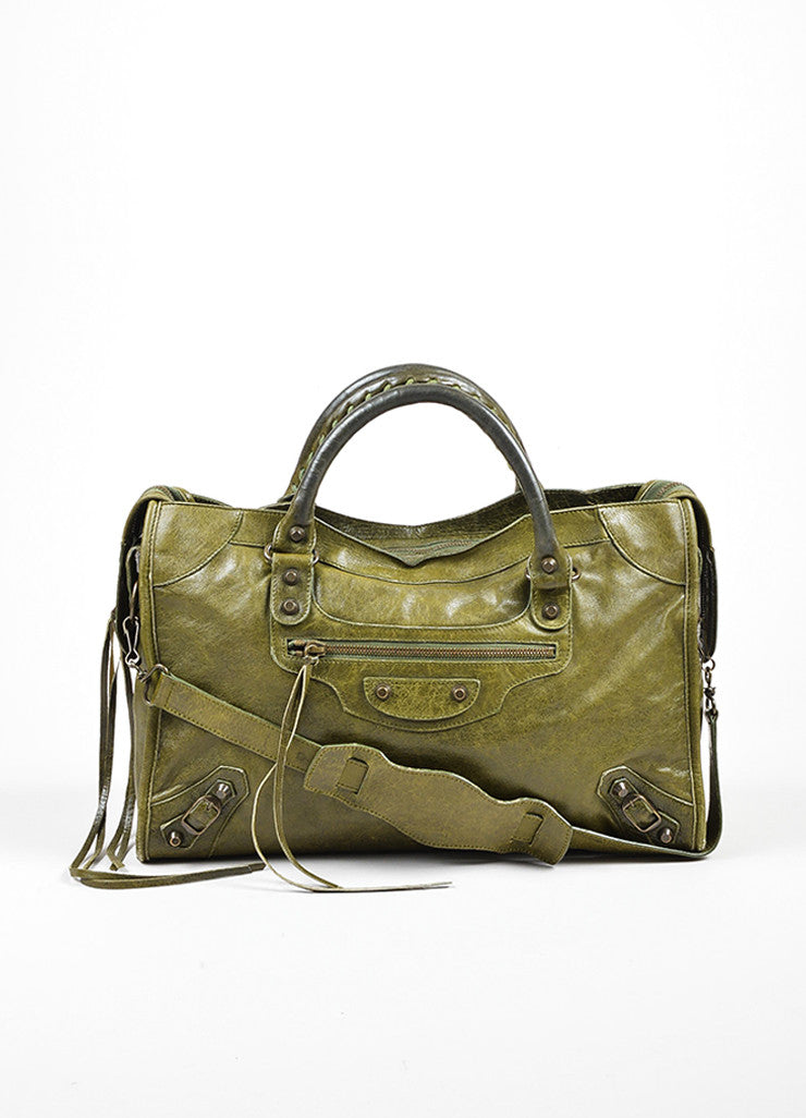 "Green Balenciaga ""Motocross Classic City"" Distressed Leather Satchel Bag Frontview"