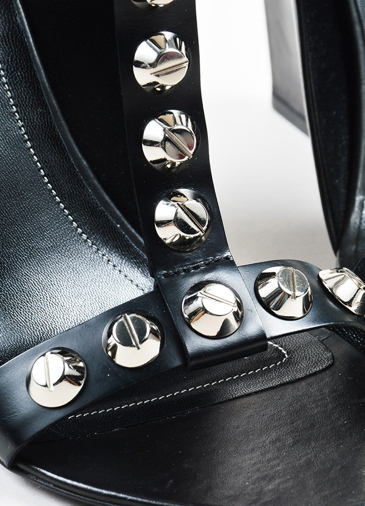 Balenciaga Black Leather Studded Wedge T-Strap Sandals Detail