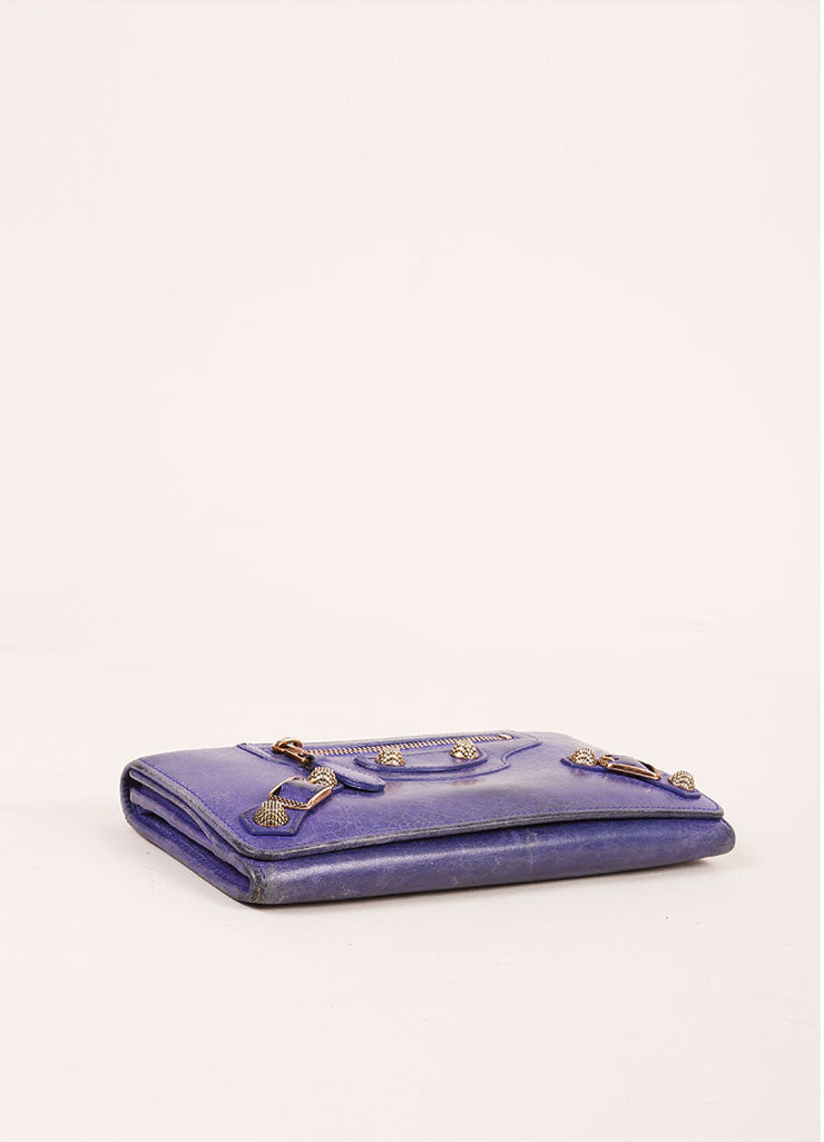 Balenciaga Purple Distressed Leather Studded Wallet Bottom View