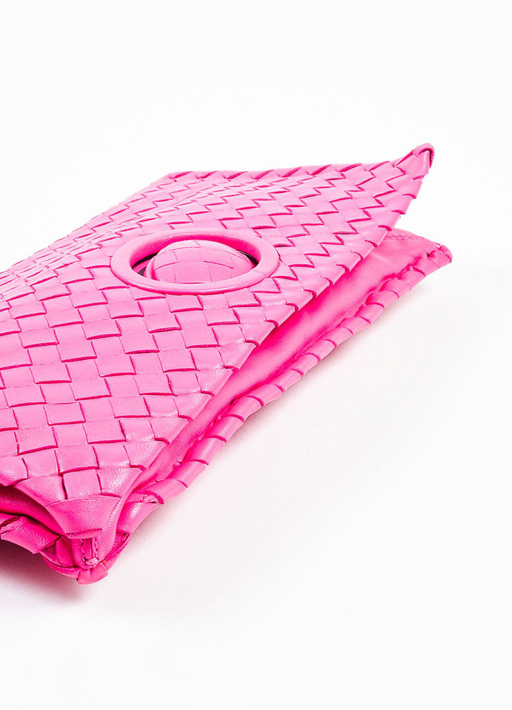 "Bottega Veneta Hot Pink ""Intrecciato"" Nappa Leather Turn Lock Clutch Bag Bottom View"
