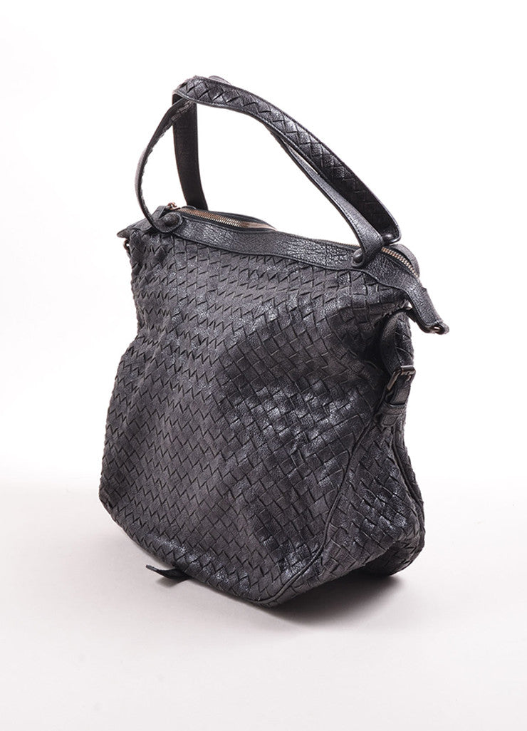 Bottega Veneta Black Woven Leather Square Tote Bag Side