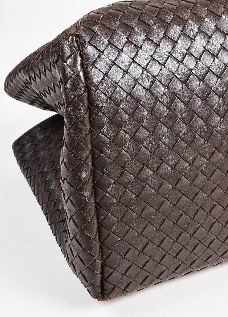 "Bottega Veneta Brown Intrecciato Leather ""Milano"" Tote Bag Detail"