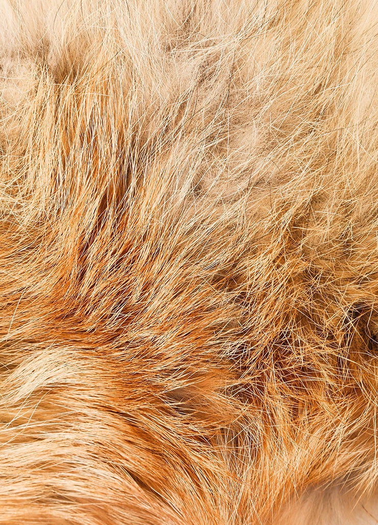 "C/FAN New With Tags Tan and Cream Natural Fox Fur ""Brett"" Clip On Collar Detail 2"