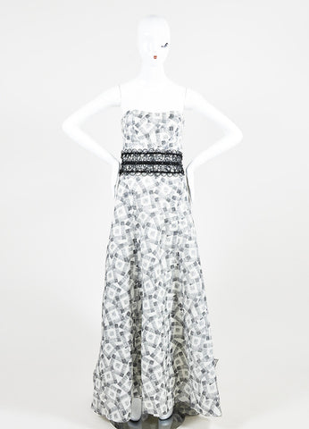 Black and White Carolina Herrera Silk Square Print Strapless Evening Gown Frontview