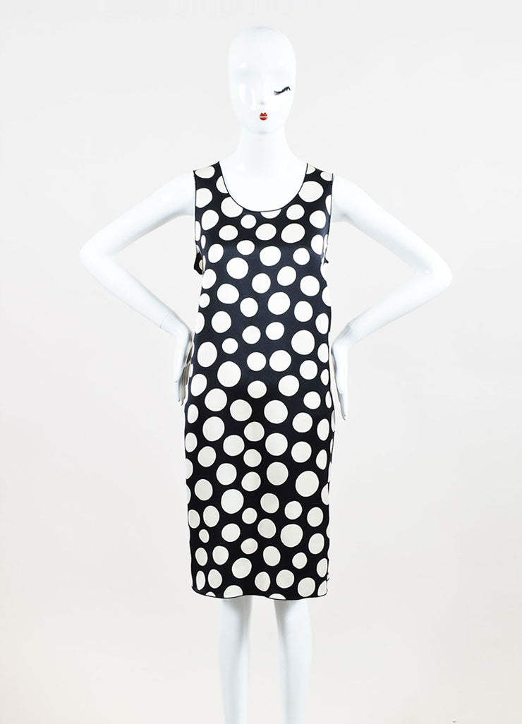 Celine Black and Cream Silk and Wool Blend Polka Dot Print Sleeveless Shift Dress Frontview