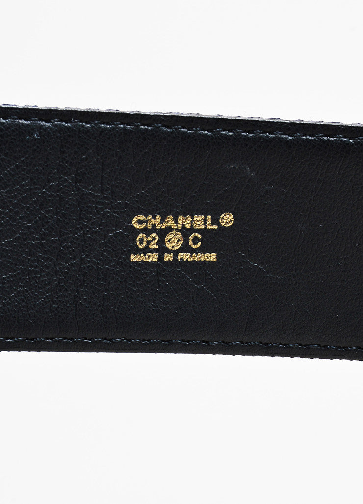 Chanel Navy Blue Satin Faux Pearl Chain Bow Belt Brand