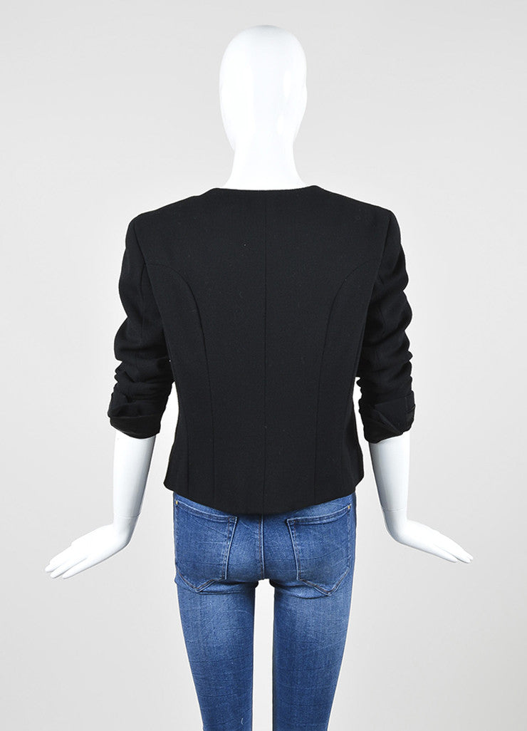 Black Chanel Wool Military Style Structured Cropped Blazer Jacket Backview