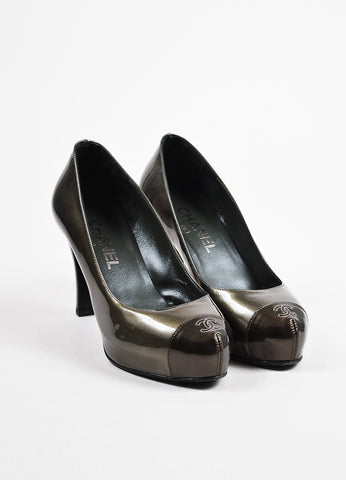 Silver Chanel Patent Leather 'CC' Cap Toe High Heel Pumps Front