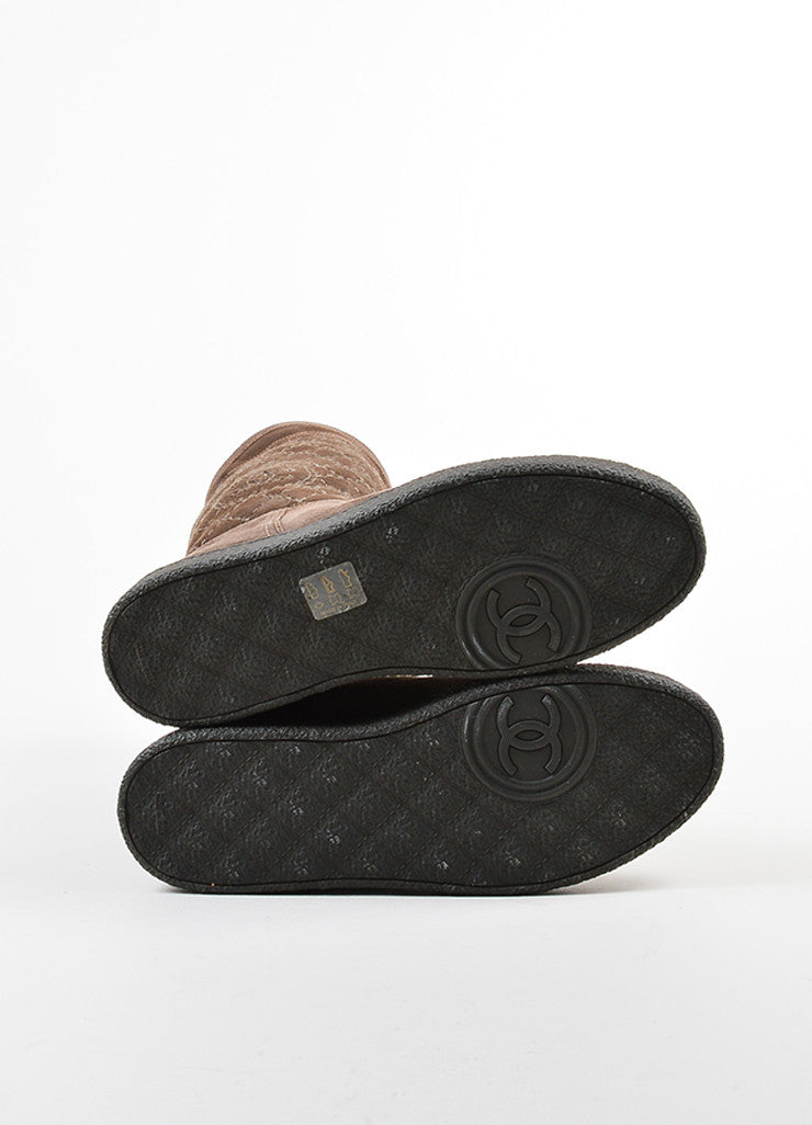 Chanel Brown Shearling Lined Quilted 'CC' Logo Winter Boots Outsoles