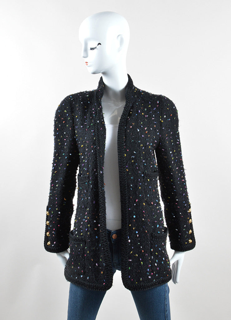 Chanel Black and Multicolor Speckled Tweed Jacket Pencil Skirt Suit Jacket