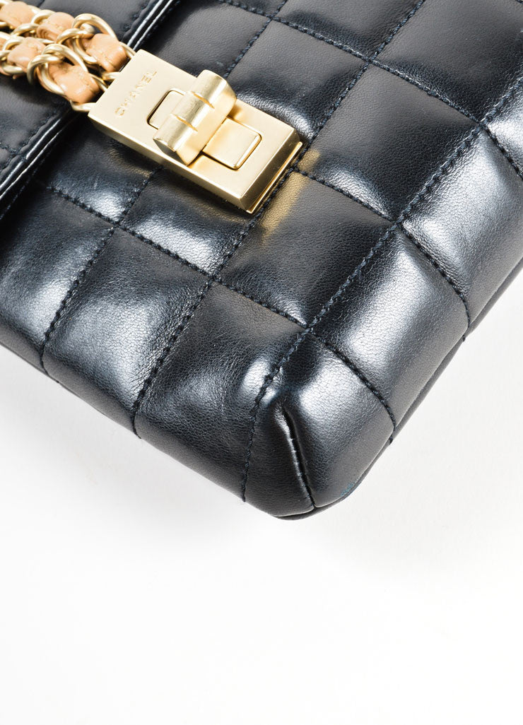 Chanel Black Chain Strap Quilted Leather Mademoiselle Lock Flap Bag Detail