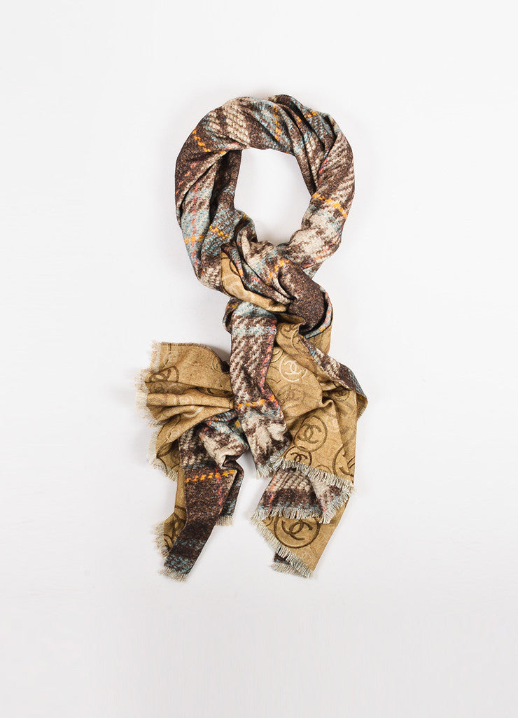 Chanel Brown and Multicolor Cashmere Houndstooth and 'CC' Patterened Reversible Scarf Frontview