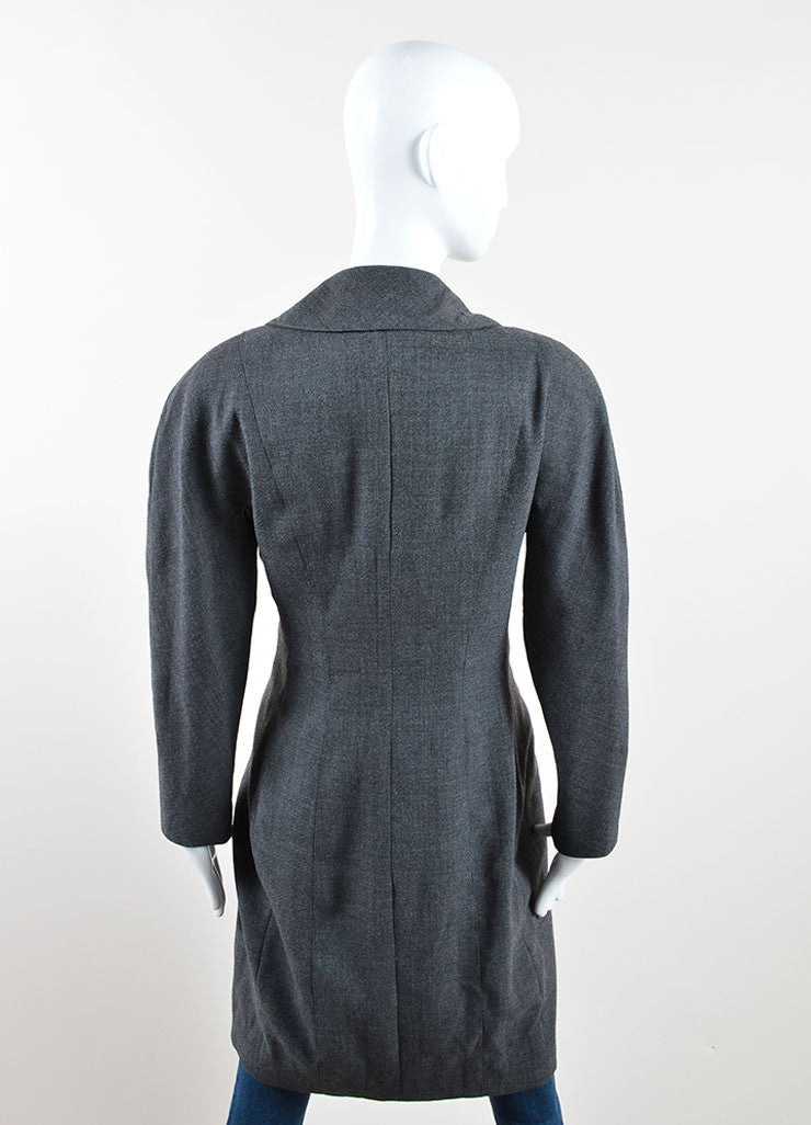 "Chanel Grey and Gold Toned Wool ""CC"" Button Wrap Knee Length Jacket Backview"