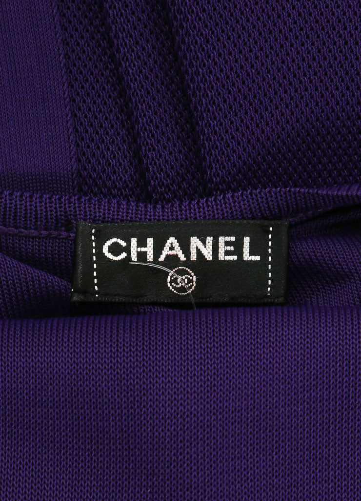 Chanel Purple Woven Knit Ruffle Draped Full Length Halter Dress Brand