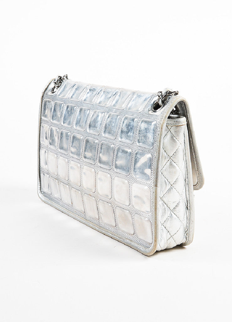 "Chanel Silver Metallic Leather Coated ""Ice Cube"" Classic Flap Shoulder Bag Sideview"