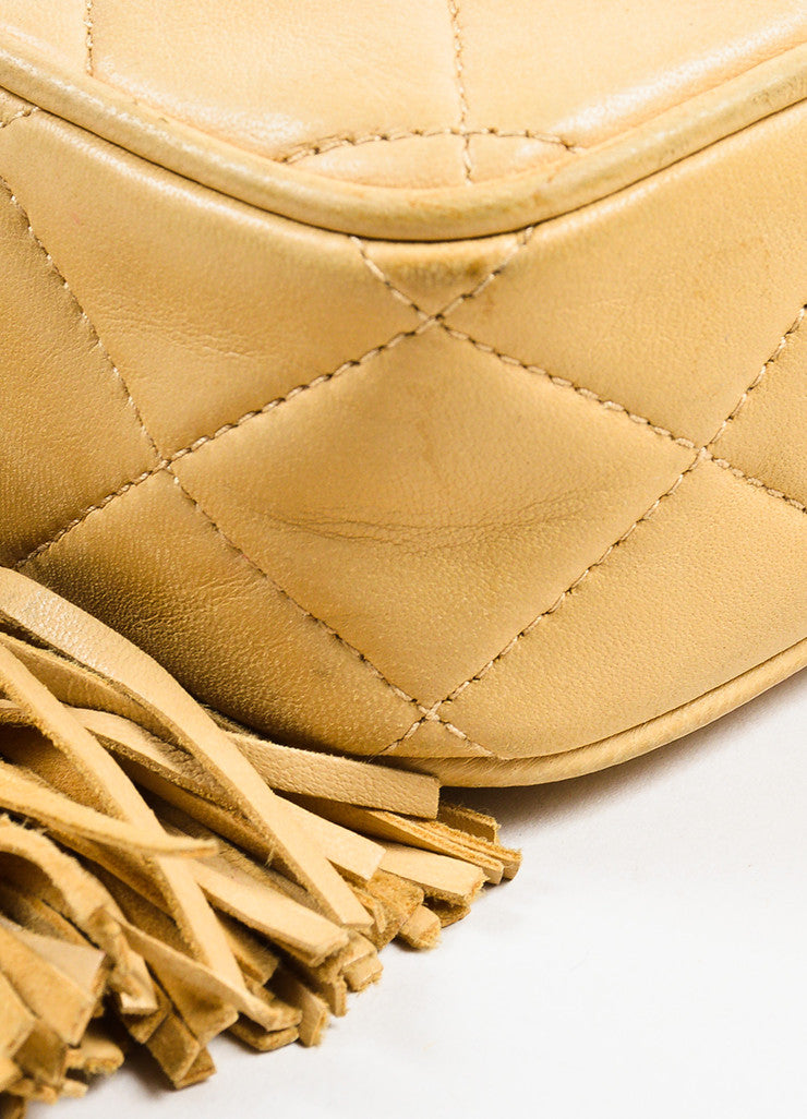 Chanel Tan Gold Tone Lambskin Leather Quilted 'CC' Tassel Shoulder Bag Detail