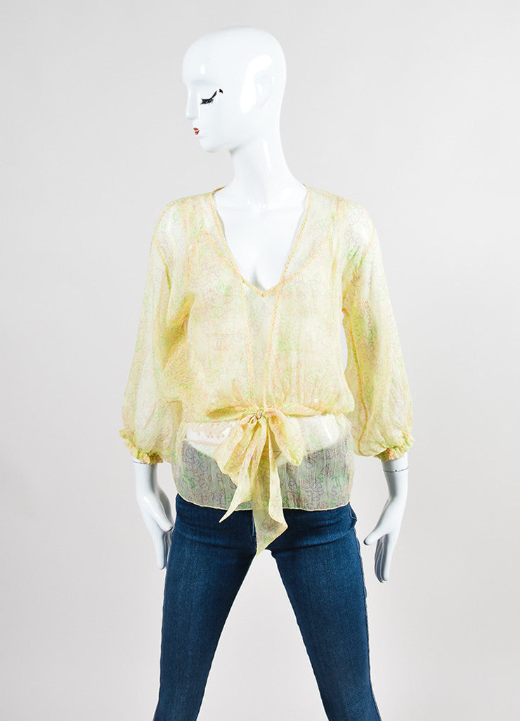 Yellow and Multicolor Chanel Silk Chiffon 'CC' Logo Print Sheer Tie Blouse Set Frontview