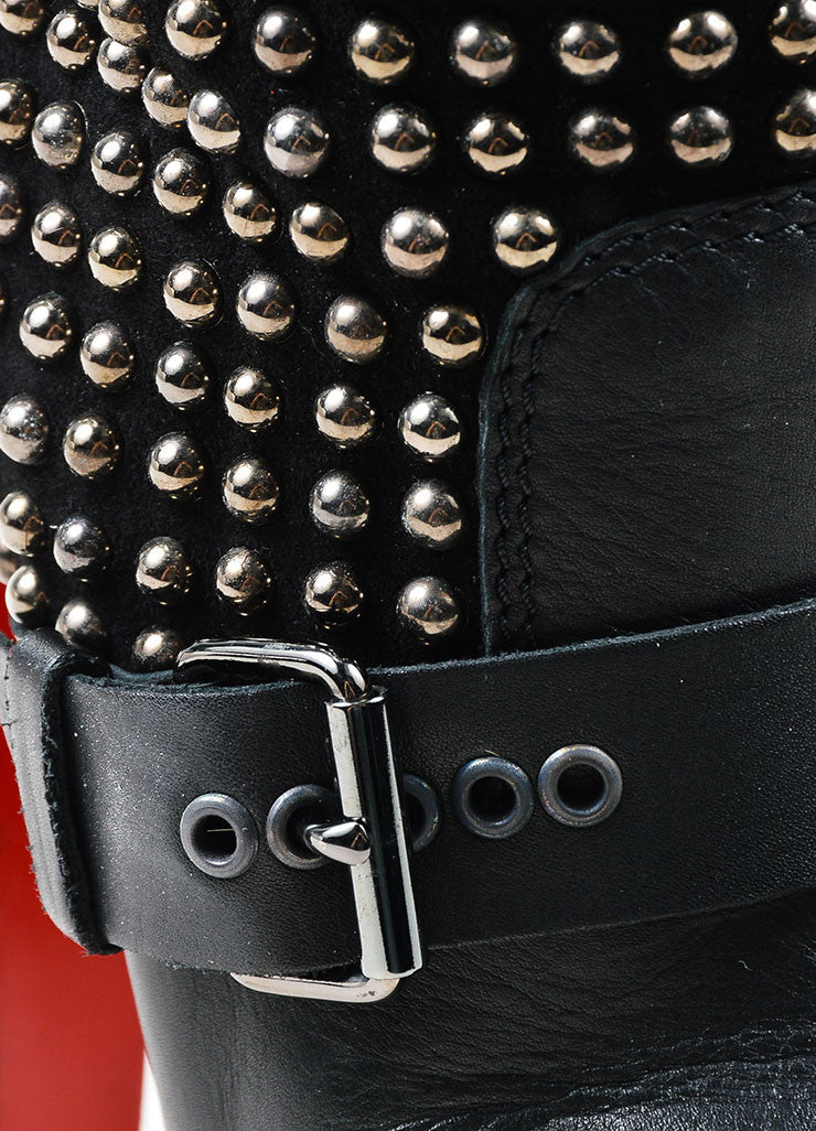 "Black Christian Louboutin Suede Leather Studded ""Marisa"" Boots Detail"