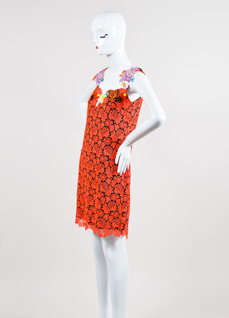 Neon Pink and Black Lace Christopher Kane Floral Applique Sleeveless Dress Sideview
