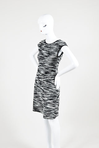 Black and White Derek Lam Cotton Tweed Cap Sleeve Sheath Dress Sideview