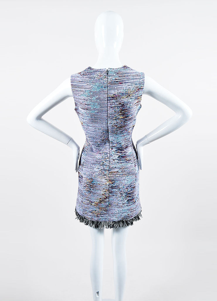 Multicolor Christian Dior Woven Tweed Fringe Sleeveless Dress Backview