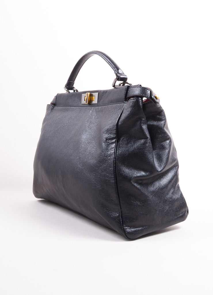"Fendi Black Kid Leather ""Peekaboo"" Shoulder Strap Tote Bag Sideview"