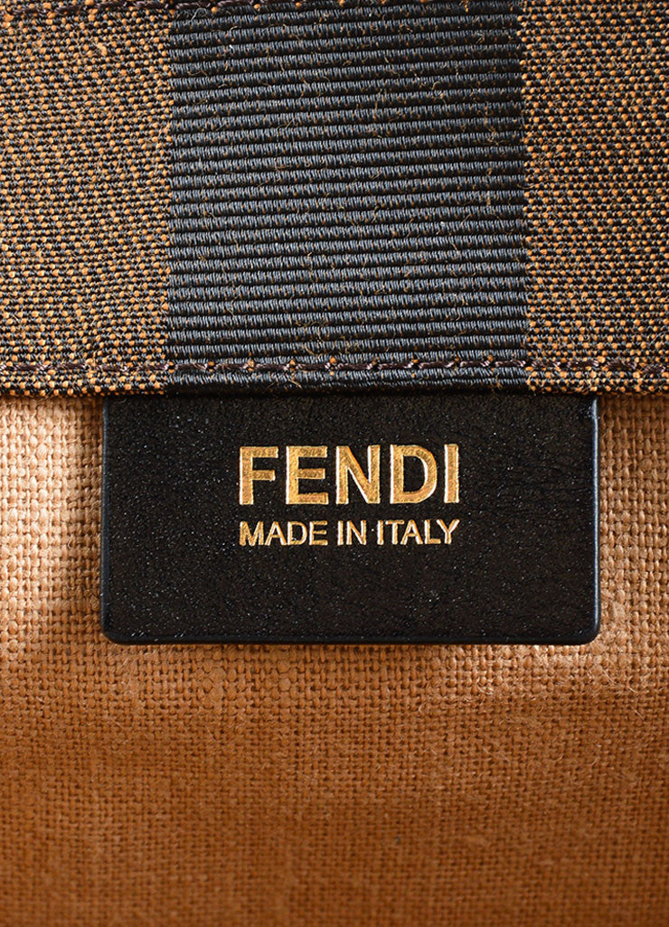"Fendi Brown and Yellow Canvas Striped ""Pequin"" Small Shopping Tote Bag Brand"