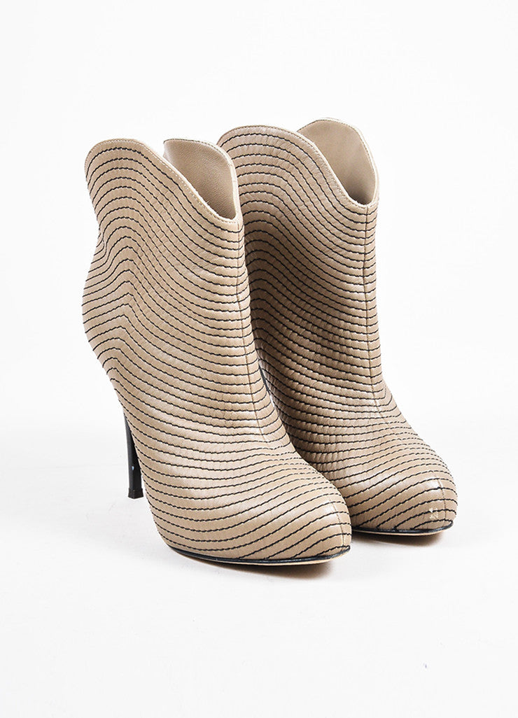 Giuseppe Zanotti Taupe Leather Concealed Platform Booties Frontview