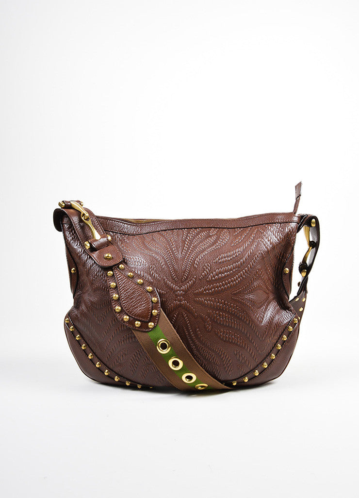 "Brown Gucci Leather Embossed Studded ""Pelham"" Bag Frontview"