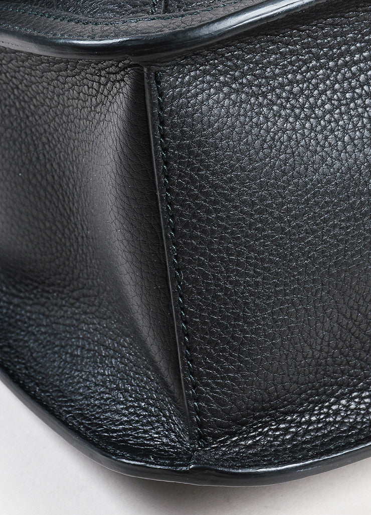 "Gucci Black Pebbled Leather Bamboo Tasseled Crossbody ""Daily"" Flap Bag Detail"