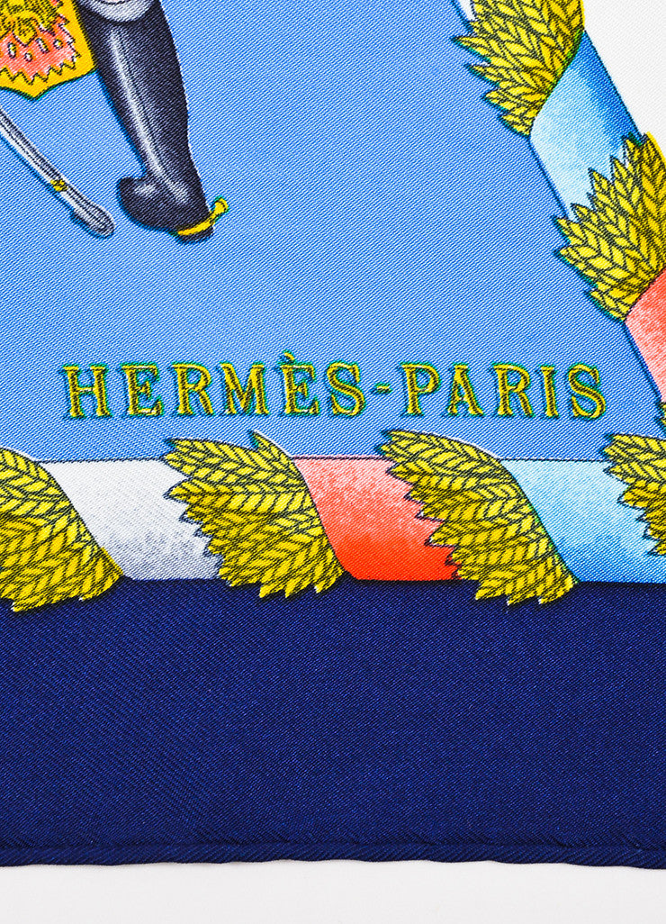"Hermes Blue and Multicolor Silk ""L'Armee Imperiale Russe"" Printed 90cm Square Scarf Brand"