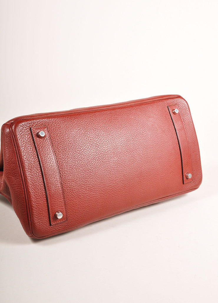 "Hermes Red ""Rouge H"" and Silver Toned Clemence Leather 42cm Shoulder Birkin Bag Bottom View"