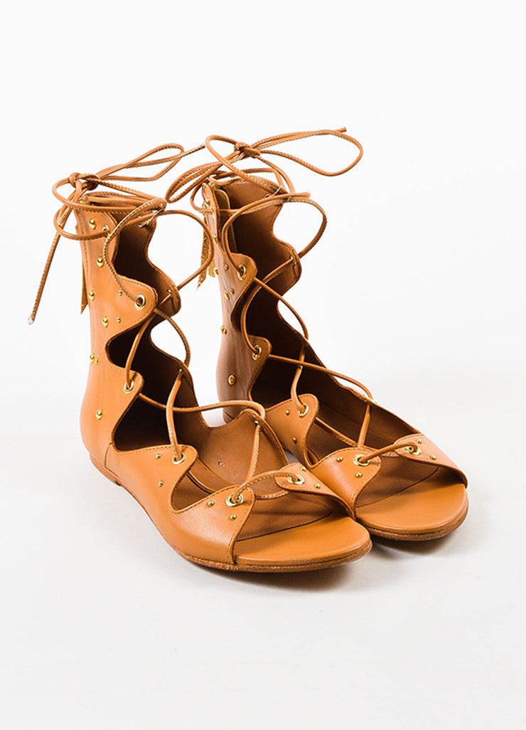 "IRO Camel Leather Studded Laced Up ""Xiri"" Flat Gladiator Sandals Frontview"