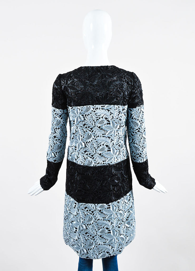 Black and Light Blue J. Mendel  Suede Lace Overlay Long Coat Backview