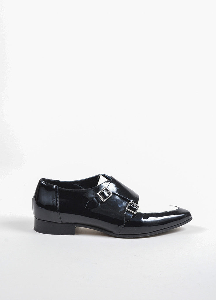 "Jimmy Choo Black and White Patent Leather Monk Strap ""Mardi"" Loafers Sideview"