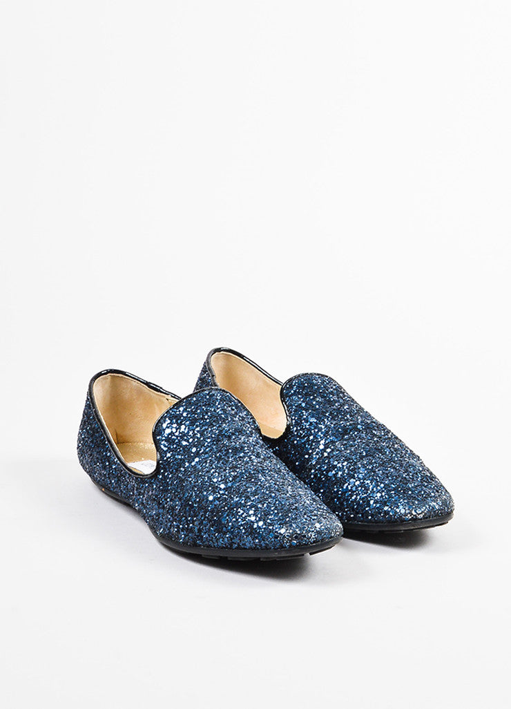 Jimmy Choo Navy Blue and Black Chunky Glitter Flat Loafers Frontview