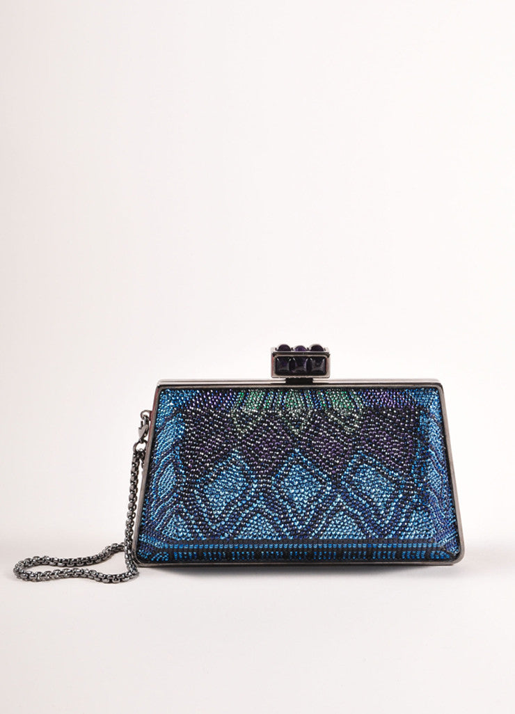 Judith Leiber New With Tags Blue, Purple, and Green Crystal Encrusted Minaudiere Clutch Bag Frontview