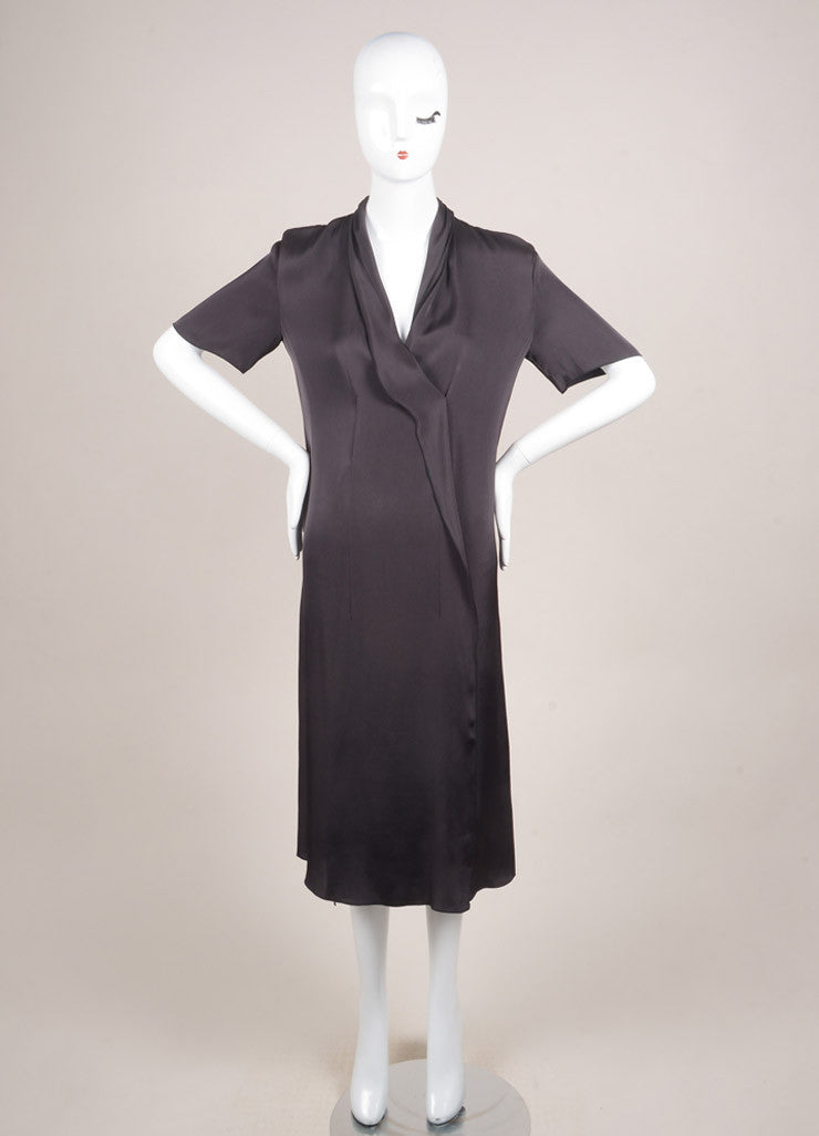 Lanvin New With Tags Dark Grey Silk Blend Short Sleeve Draped Dress Frontview