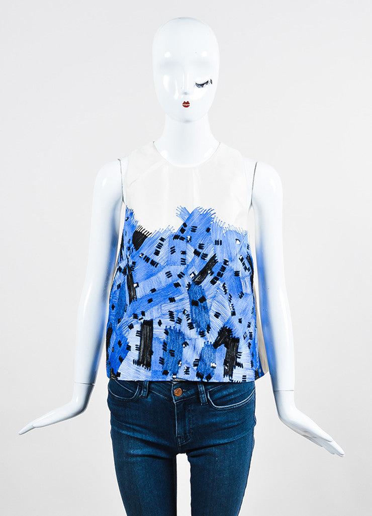 White, Blue, and Black Lela Rose Wool and Silk Embellished Trapeze Shell Top Frontview